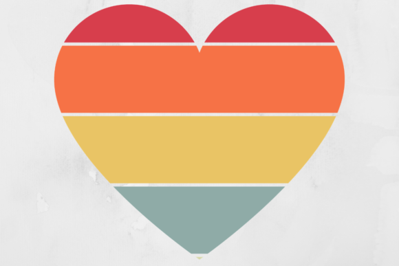 Print on Demand: Retro Striped Heart Background Graphic Backgrounds By atlasart