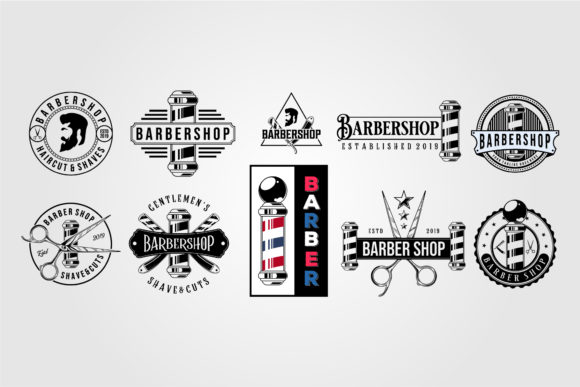 Set of Barbershop Vector Vintage Logo Graphic Logos By lawoel