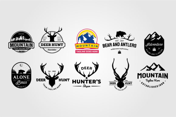 Set of Vector Hunting and Outdoor Emblem Graphic Logos By lawoel