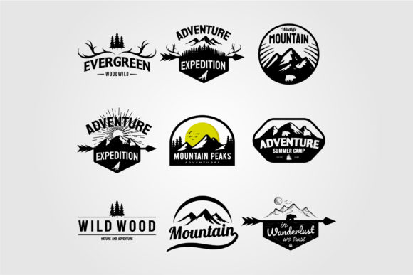 Set of Vector Mountain and Outdoor Logo Graphic Logos By lawoel