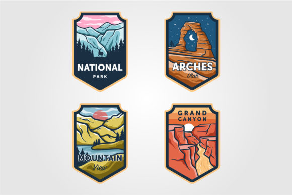 Set of Vector National Park Outdoor Logo Graphic Logos By lawoel