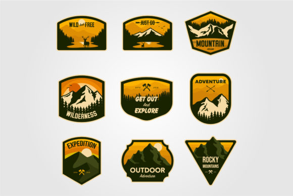 Set of Vintage Vector Mountain Outdoor Graphic Logos By lawoel