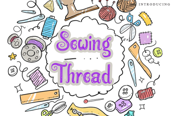 Print on Demand: Sewing Thread Decorative Font By gunawanletter