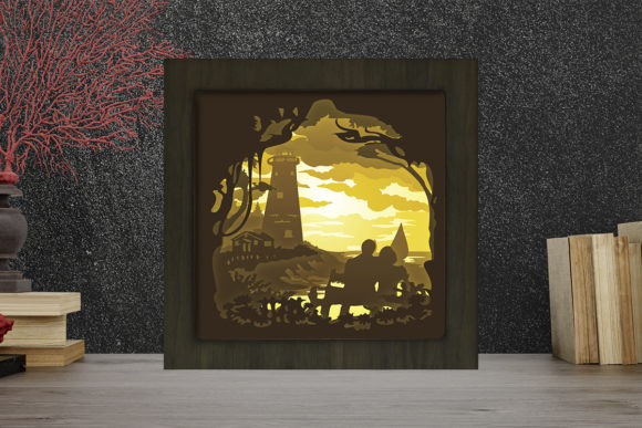 Simplified Lighthouse Square Light Box Graphic 3D Shadow Box By LightBoxGoodMan