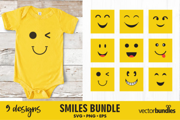Print on Demand: Smile Bundle Grafik Plotterdateien von vectorbundles