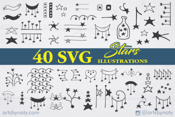 Print on Demand: Stars SVG Pack with 40 Illustrations Graphic Illustrations By artsbynaty