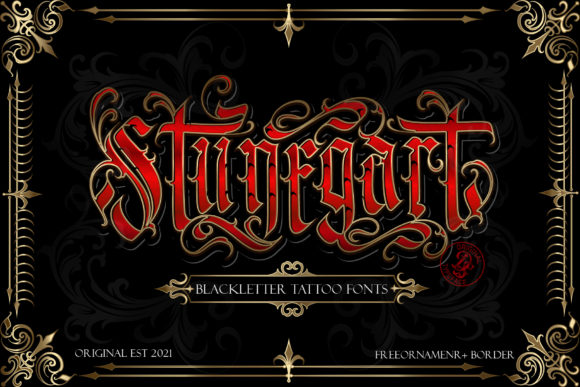 Print on Demand: Stunegart Blackletter Font By Dansdesign