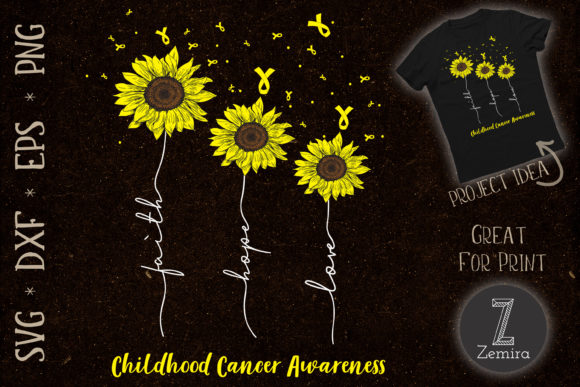 Print on Demand: Sunflower Childhood Cancer Awareness Graphic Crafts By Zemira