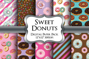 Print on Demand: Sweet Donuts Digital Paper Pack Graphic Backgrounds By Party Pixelz