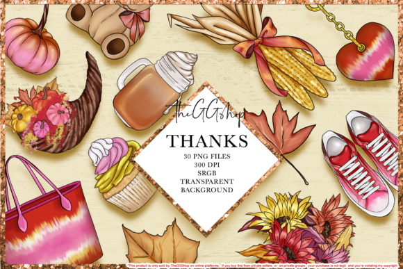 Print on Demand: Thanksgiving Clipart Set Graphic Illustrations By TheGGShop