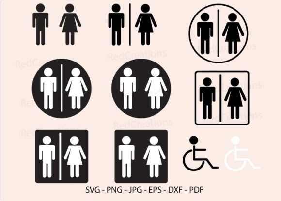 Toilet Svg, Bathroom, Restroom Sign Graphic Crafts By RedCreations