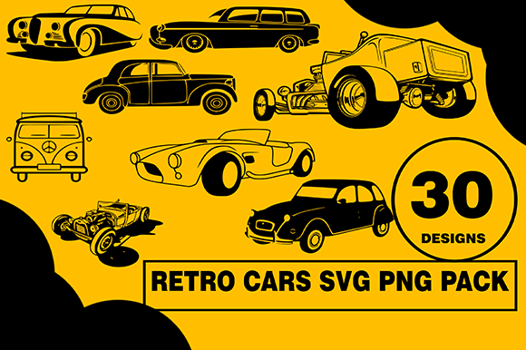 Vintage Old Cars Design Bundle Graphic Illustrations By CactusTreeDesigns