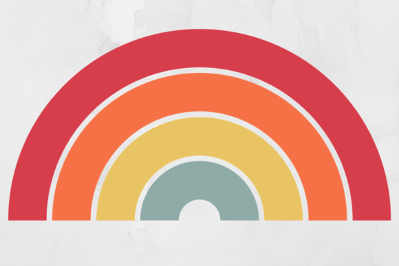Print on Demand: Vintage Retro Rainbow Background Graphic Backgrounds By atlasart
