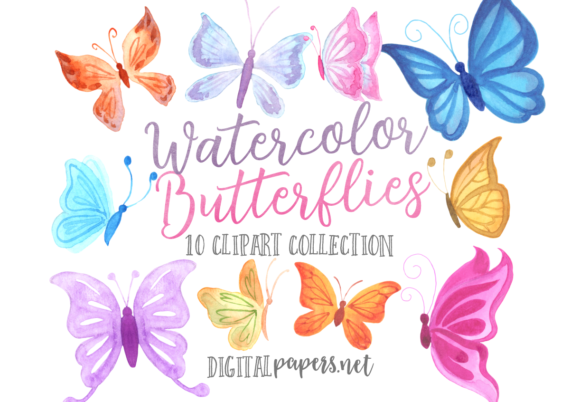 Print on Demand: Watercolor Colorful Butterflies Graphic Illustrations By DigitalPapers