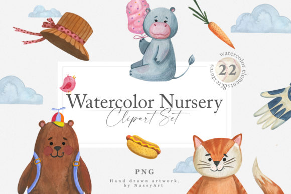 Watercolor Nursery Clipart Animals Graphic Illustrations By NassyArt