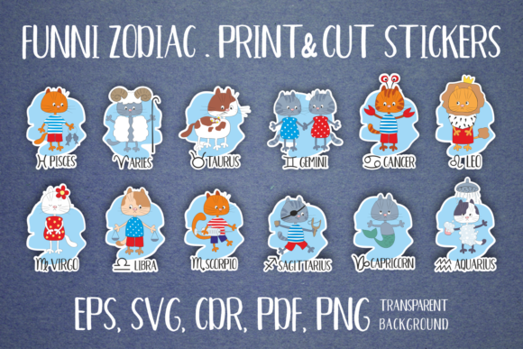 Print on Demand: Zodiac with Funny Cats. Stickers Set. Graphic Crafts By Olga Belova