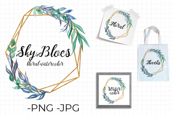 Print on Demand: Frame Sky Blues Watercolor Floral Graphic Illustrations By AzrielMch - Image 1