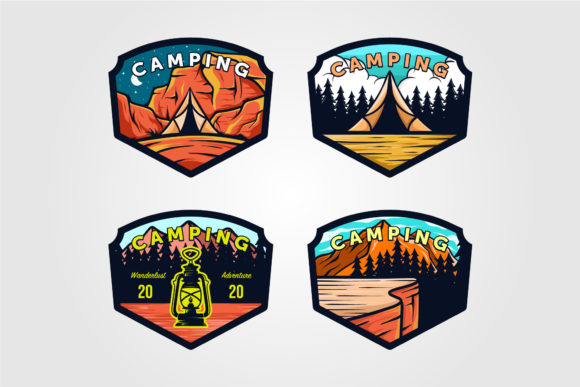 Set of Vintage Camping Logo Outdoor Graphic Logos By lawoel