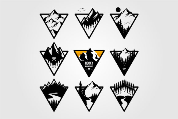 Set of Vintage Mountain Triangle Logo Graphic Logos By lawoel