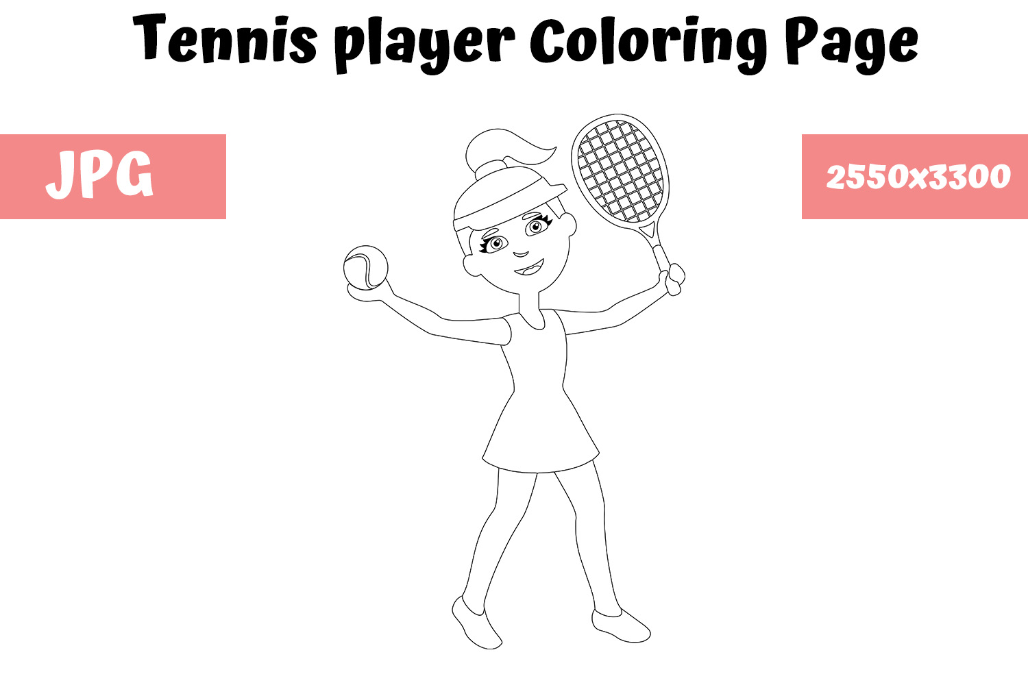 Tennis Player Coloring Page For Kids Graphic By Mybeautifulfiles Creative Fabrica