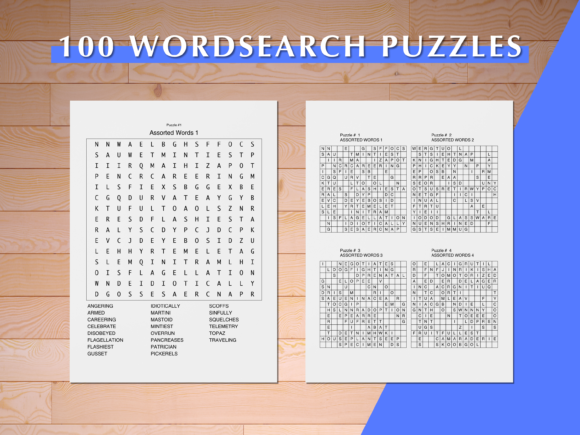 Print on Demand: 100 Word Search Puzzles Graphic Print Templates By AscendPrints