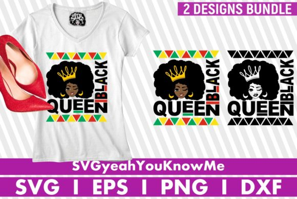 2x Black Queen Bundle, Afro Woman Graphic Crafts By svgyeahyouknowme