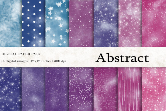 Abstract Digital Papers, Space Background Graphic Textures By BonaDesigns