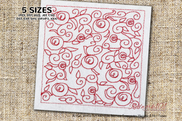 Abstract Rose Pattern Paisley Embroidery Design By Redwork101 - Image 1