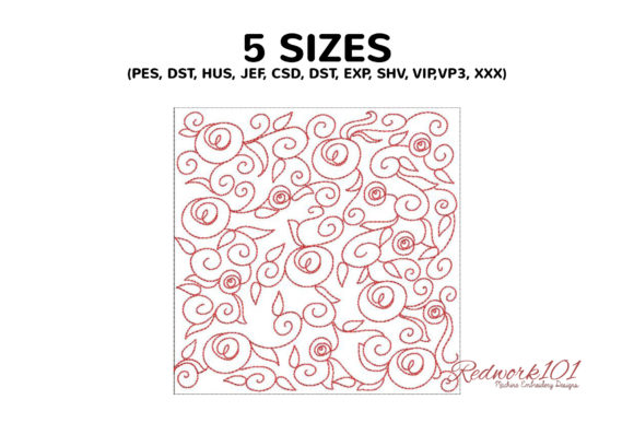 Abstract Rose Pattern Paisley Embroidery Design By Redwork101 - Image 2