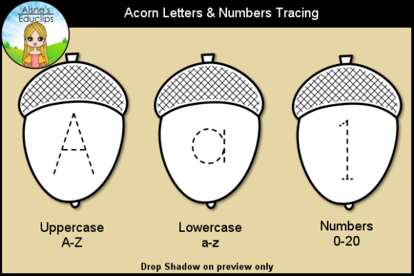 Print on Demand: Acorn Letters & Numbers Tracing Clip Art Graphic Teaching Materials By Aisne Educlips