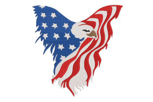 Print on Demand: American Flag 2nd Version North America Embroidery Design By Embroidery Shelter