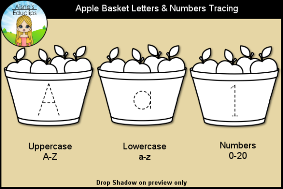 Print on Demand: Apple Basket Letters & Numbers Tracing Graphic Teaching Materials By Aisne Educlips