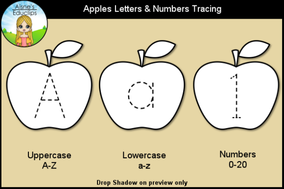 Print on Demand: Apple Letters & Numbers Tracing Clip Art Graphic Teaching Materials By Aisne Educlips