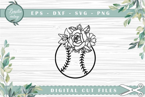 Baseball Floral Cutting Files Graphic Crafts By basilio.vintage