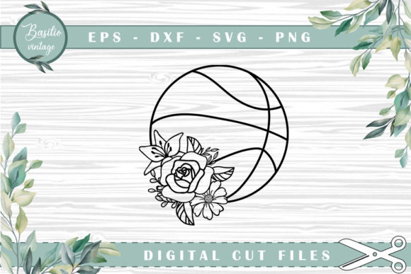 Basketball Floral Cutting Files Graphic Crafts By basilio.vintage