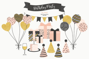 Birthday Party Clipart Gold Blush Black Graphic Illustrations By Sweet Shop Design