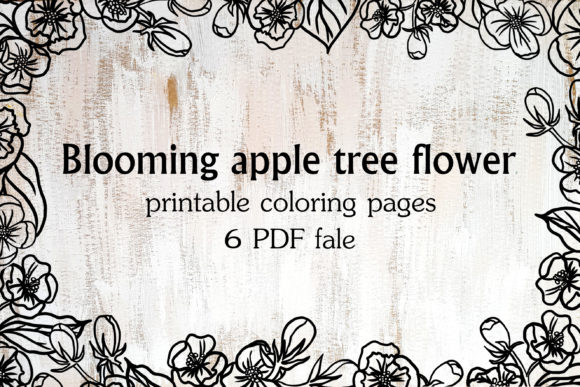 Blooming Apple Tree Flowers Graphic Coloring Pages & Books Adults By Sadalmellik watercolor - Image 1