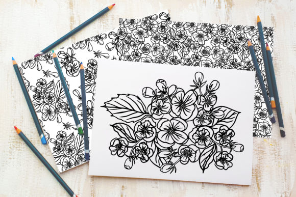 Blooming Apple Tree Flowers Graphic Coloring Pages & Books Adults By Sadalmellik watercolor - Image 2