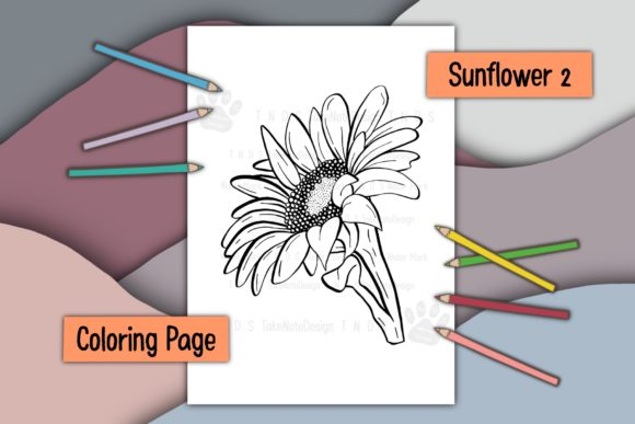 Blooming Sunflower 2 Graphic Coloring Pages & Books Adults By TakeNoteDesign