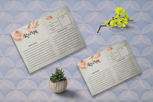 Print on Demand: Brown Floral Recipe Card Template Graphic Print Templates By Creative Tacos - Image 2