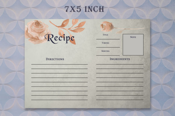 Print on Demand: Brown Floral Recipe Card Template Graphic Print Templates By Creative Tacos - Image 3