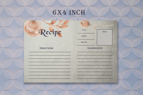 Print on Demand: Brown Floral Recipe Card Template Graphic Print Templates By Creative Tacos - Image 4