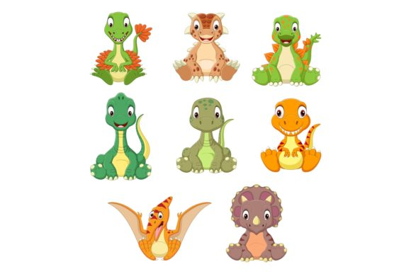 Cartoon Baby Dinosaurs Bundle Graphic Illustrations By tigatelusiji