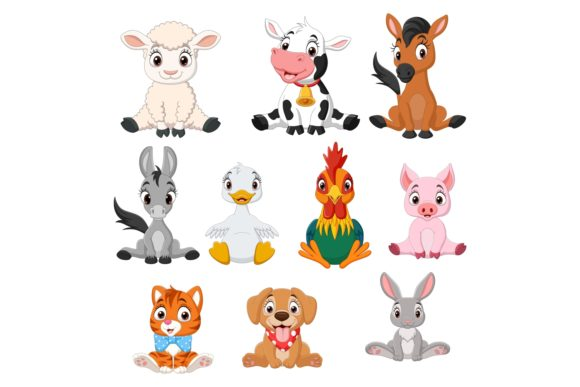 Cartoon Baby Farm Animals Bundle Graphic Illustrations By tigatelusiji