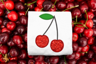 Cherries Applique Food & Dining Embroidery Design By DesignedByGeeks