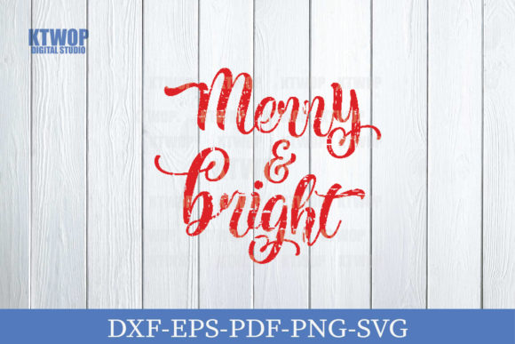 Christmas Grunge Element Merry & Bright Graphic