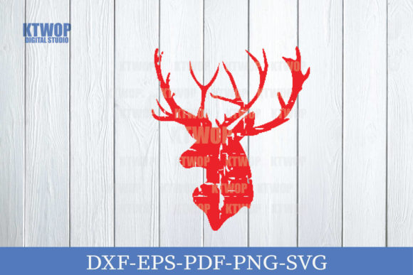 Print on Demand: Christmas Grunge Elements Deer a Graphic Crafts By KtwoP