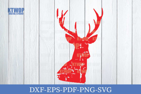 Print on Demand: Christmas Grunge Elements Deer B Graphic Crafts By KtwoP