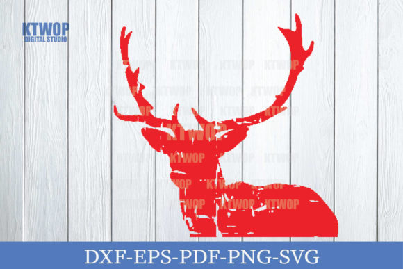 Print on Demand: Christmas Grunge Elements Deer C Graphic Crafts By KtwoP