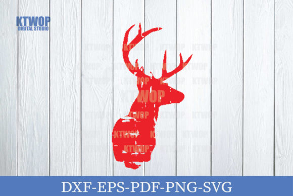 Print on Demand: Christmas Grunge Elements Deer D Graphic Crafts By KtwoP